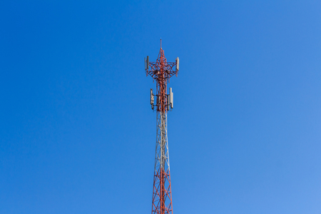 repeater: Close up  antenna repeater tower on blue sky