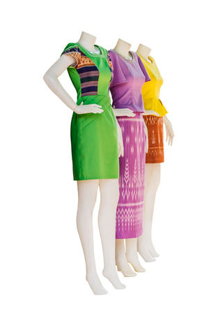 mannequins: Thai   dresses on mannequins isolate white background