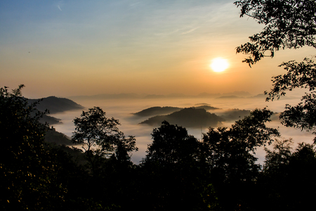 loei: the morning in the mist of winter in Phu bo bit ,Loei Thailand Stock Photo