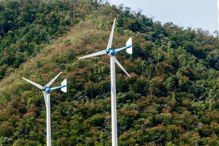 Wind turbines on chang hua man project in thailand.