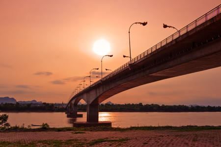 Third Thai - Lao Friendship Bridge at Sun rise time Nakhon Phanom Province Thailand