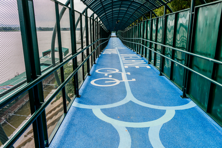 Road  tunnel bicycle On the banks of the Mekong River Nakhon Phanom,Thailand Stock Photo