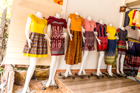 Beautiful and closeup Thai dresses on mannequins