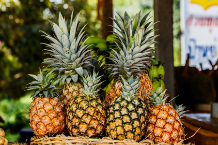 Pineapple fruit on wood table for sale.