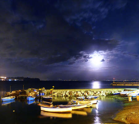 Italy, Campania, Gulf of Pozzuoli at night 4 photo