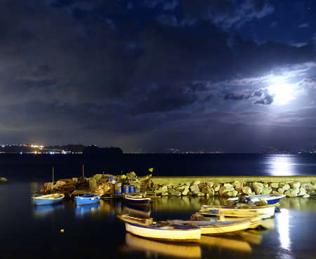 Italy, Campania, Gulf of Pozzuoli at night 1 photo