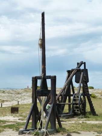 catapults: Catapults in the castle of Baux, Provence, France Editorial