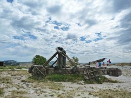 Catapults in the castle of Baux, Provence, France Stock Photo - 17176116