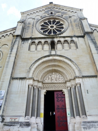 Facade of Saint Paul church in Nimes, France photo