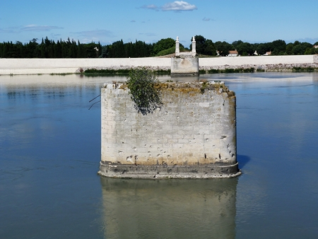 rhone: Destroyed bridge over the Rhone in Arles, Provence, France