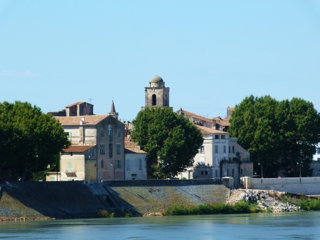 arles: The Rhone in Arles, Provence, France Stock Photo