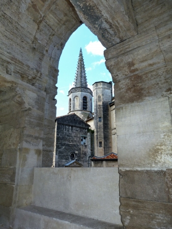 arles: View of Arles from the roman amphitheater, France