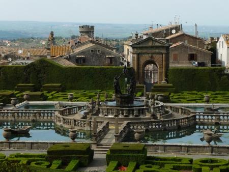 Italian garden in the park of Villa Lante, Bagnaia, Viterbo, Italy Editorial