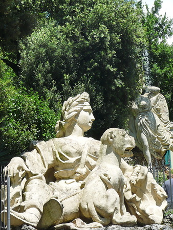 Statue in the park of Villa Garzoni, Collodi, Tuscany, Italy photo