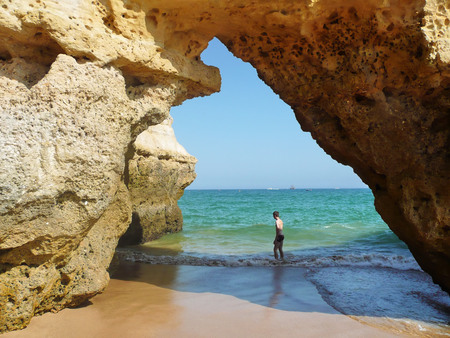 Algarve cave and beach, Portugal