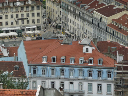 panoramic roof: Landscape of Lisbon from the castle of St  George, Portugal Stock Photo