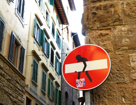 changed: Road sign changed in Florence, Italy Stock Photo