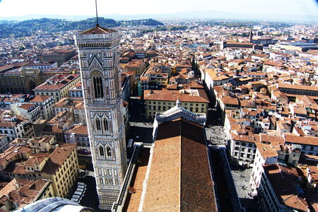 View from the terraces of the Giotto s bell tower of the Cathedral, Florence, Italy photo