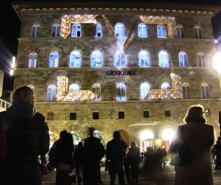signoria square: Signoria square in florence by night illuminated by colored lights, Italy