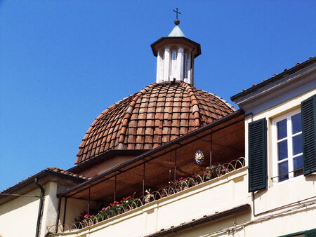 Dome in a street in the center of Lucca, Italy photo