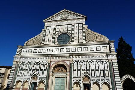 Facade of Santa Maria Novella church in Florence, Italy photo