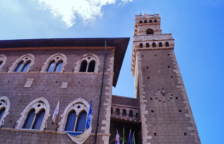 Clock Tower of the Town Hall in Piombino, Tuscany, Italy