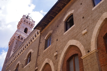 priori: Clock Tower of the Town Hall in Piombino, Tuscany, Italy