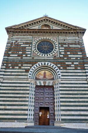st francis: Facade of St. Francis church, Prato, Tuscany, Italy Stock Photo