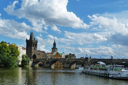 Charles Bridge and the Powder Tower in Prague, Czech Republic