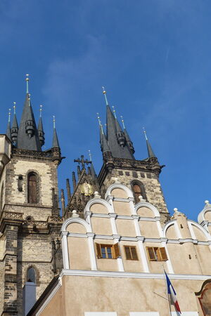 tyn: Czech Republic, Prague, Staromestske square, detail of the church of our lady before Tyn