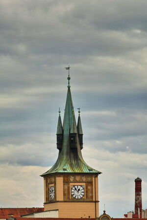 spires: Spires of a typical buildings in the center of Prague, Czech Republic