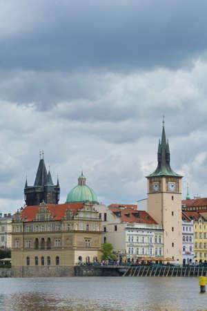 vltava: Typical palaces along the Vltava, Prague, Czech Republic