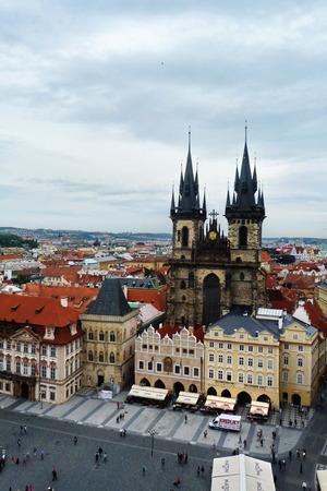 czech women: Czech Republic, Prague, top view of Staromestske square, church of our lady before Tyn Editorial