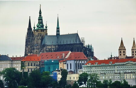vltava: View of Prague Castle from the River Vltava, Czech Republic