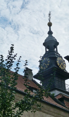 old new: Clock tower near the Old New synagogue, Prague, Czech Republic Stock Photo