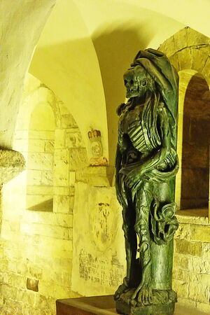 crypt: Mummy  in the crypt of St. George Basilica in Prague, Czech Republic