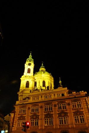 nicholas: St. Nicholas church in Prague at night, Czech Republic