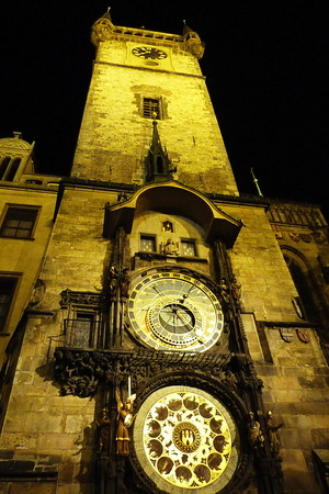 Tower of the astronomical clock of Prague at night, Czech Republic