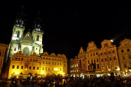 Czech Republic, Prague, Staromestske square, church of our lady before Tyn at night photo