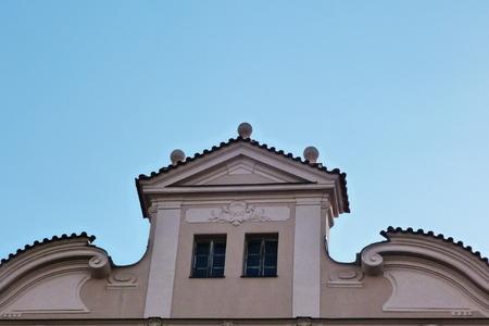pediment: Pediment of a building typical of Prague, Czech Republic