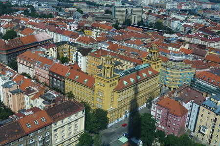 Top view from Zizkov television tower, Prague, Czech Republic