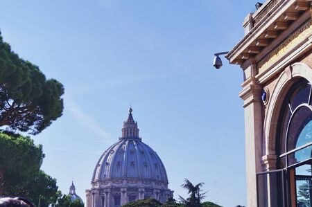 View from Vatican Museum of Dome of Saint Peters Basilica, Rome, Italy photo