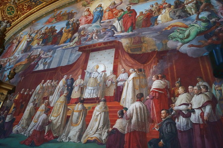 corridors: Frescoes in the corridors of the Vatican Museums, Rome, Italy