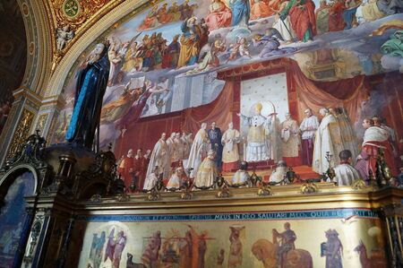 palatine: Frescoes in the corridors of the Vatican Museums, Rome, Italy