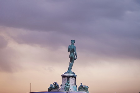 michelangelo: Statue of David at Piazzale Michelangelo at sunset, Florence
