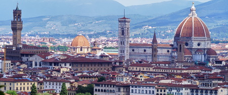 surrounding: View of Florence from the surrounding hills, Italy
