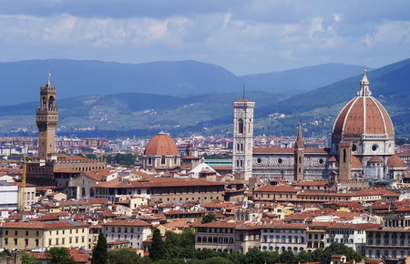 View of Florence from the surrounding hills, Italy photo