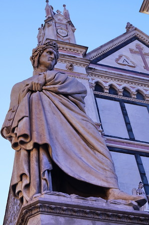 dante alighieri: Statue of Dante Alighieri in Santa Croce square, Florence, Italy Stock Photo