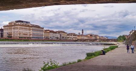 along: Along the river Arno Florence Italy