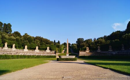 obelisk stone: Egyptian obelisk and antique stone tub and antique amphitheater in Boboli Gardens in Florence Tuscany Italy